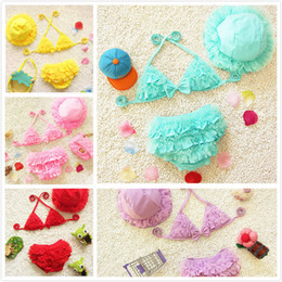 2d635de4664 smallest bikini suits Promo Codes - 2018 Baby Girl Cute Split Lace-up  Halter Swimwear