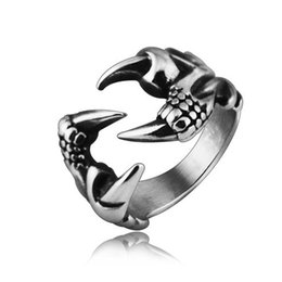 Wholesale Gothic Claw Rings - Punk Rock 316L Stainless Steel Mens Biker Rings Vintage Gothic Jewelry Silver Dragon Claw Ring Men