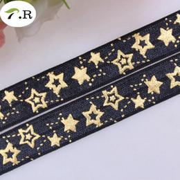 Nouveau! # 030 Noir 5/8 '' Feuille d'Or Étoiles Pliez Plus Élastique Imprimé Foe élastique Ruban ennemi pour Diy Cheveux Cravates Mode Bandeaux Dot Headwear ? partir de fabricateur
