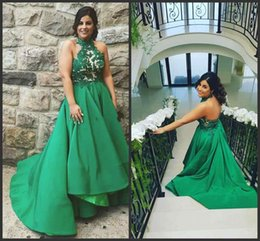Wholesale Formal Tea Length Dresses Halter - Plus Size Green High Low Prom Dresses 2018 Appliques Halter Tea Length A Line Hi-Lo Satin Formal Short Evening Party Gowns Cheap Custom