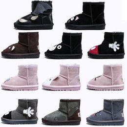 botas clásicas de piel de oveja Rebajas WGG Boots Cartoon Animal Shoes Classic Snow Boots For Girl Boy Shoes Lana de piel de oveja Conejo oso gato mantener caliente