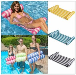Wholesale Inflatable Beach Mat - 6 Colors 70*132cm Summer Inflatable Chair Float Swimming Floating Bed Water Hammock Recreation Beach Mat Mattress Lounge Chair CCA9653 10pcs
