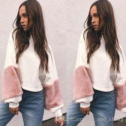 Wholesale Patchwork Plush - Fashion Women Casual Plush Long Sleeve Loose Hoodie Velvet Pullover Sweats Tops Hoodies Sweatshirt Warm Brief Top