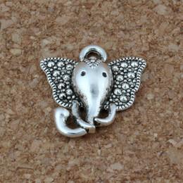 Prata do elefante on-line-Elephant head Charms Pendants 100Pcs lot 15 x16mm Antique Silver Fashion Jewelry DIY Fit Bracelets Necklace Earrings A-219