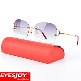 Wholesale Hot Square - Hot Fashion Luxury Metal Frames Sunglasses Brand CT Designer Sunglasses Rimless Square Lenses Sunglasses for Men UV400 lens with Box