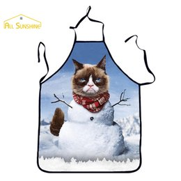 Wholesale Wholesale Aprons For Women - New Christmas Gift Spoof Cat Chef Sexy Cute For Women Woman Kitchen Cooking Tablier Disposable Cuisine Funny Apron Pinafore