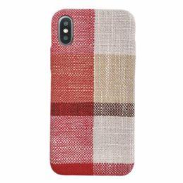 Iphone fait à la main en Ligne-Pour iPhone X XR XS MAX 6S 7 8 Plus Étui En Lin En Tissu Couverture Arrière Anti-choc Fait À La Main Style de Téléphone Cas