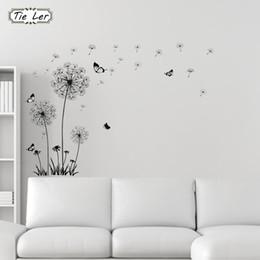 Adesivi volanti della farfalla online-TIE LER Butterfly Flying in Dandelion Bedroom Stickers Adesivi murali in stile poastorale Design originale PVC Stickers murali