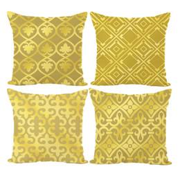Coberturas luxuosas almofadas on-line-Novo Travesseiro Capa de Luxo Luxuoso Padrão de Ouro Capa de Almofada de Impressão Digital de Linho Fronha Tampa de Assento Do Carro Cintura Fronha