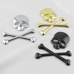 Wholesale Sticker Yamaha - Car Styling Skull Metal Bone Badge motorcycle car stickers and decals car accessories For Jeep SUV Harley Honda Yamaha Toyota