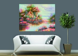Wholesale natural linen paint - Natural Scenery Thomas Kinkade Modern Landscape Oil Painting Reproduction High Quality Giclee Print on Canvas Modern Art Decor TK0021