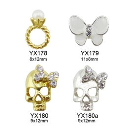 Wholesale 3d Butterfly Nail Art - Wholesale- 10pcs glitters snowflakes nail rhinestones nail art unas rings studs 3d nail charms butterfly Jewelry nails supplies Y436-Y443