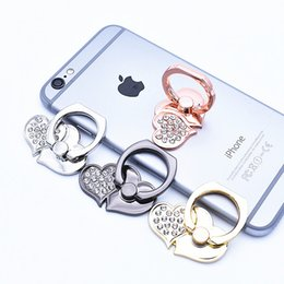 Wholesale Heart Phone Holder - Heart Style Cell Phone Holders For Iphone X Mobile Phone Ring Phone Bracket 4 Color Customize Acceptable