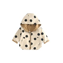 children korean clothing style Promo Codes - Korean style 100% cotton infant kids children reversible dot zipper hoodie coats baby boys girls casual jackets outwear clothes