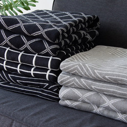Wholesale Nordic Knitting - collalily Nordic 100% cotton sofa Throw blanket Modern geometric striped plaid grey Bedding bed soft throw rug home black white