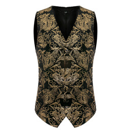 2021 цветочный стиль блейзера  2017 New Europe Design Men Blazer Vest Slim Fit Suits Silk style Waistcoat Vests Fashion Floral Printed Colete Masculino