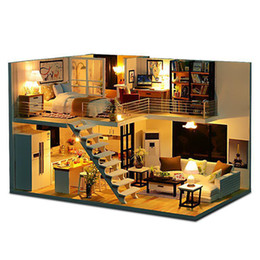 diy wood toys Coupons - DIY Wooden Loft Apartments Dollhouse Modern Miniature Home Furniture Model Kit Children Handmade Craft Toys Kid LED Light Gift