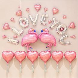2019 decorazioni calde del cuore rosa Flamingo romantico palloncini rosa lettera amore cuore forma alluminio palloncino stagnola matrimonio festa di compleanno decorazione airballoon vendita calda 27gx VB decorazioni calde del cuore rosa economici