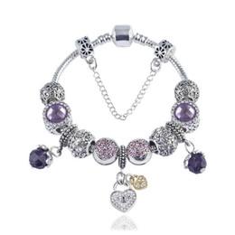 2019 bracelet à fleurs style Bracelet de perles de charme Bracelet en argent Pandoa 925 amour fleur cristal chaussures pendentif chaîne de serpent Bracelet Diy Bijoux bracelet à fleurs style pas cher