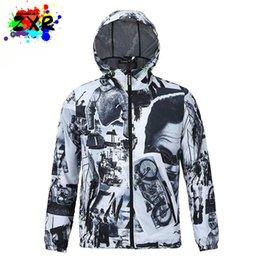 Wholesale Modern Jacket Men - Hip Hop Waterproof 3d Jacket Men Trench Clothes Outwear Cool Coats Modern Times Black And White Retro Windbreaker