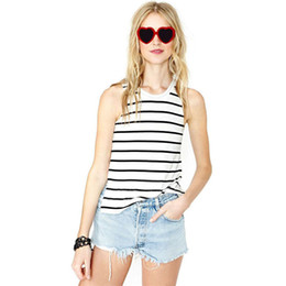 Wholesale Cheap Cotton Tank Tops - Wholelsale free shipping Summer Cheap Clothes Sexy Striped Sleevelesss Short Tank T Shirt Sleeveless Women Tops Blouses