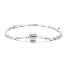 Wholesale Sterling Silver Cross Chain - Wholesale 925 Sterling Silver Plated Basic Snake Chain Bracelet DIY Charms Beads Jewelry Fit Pandora Bracelets & Bangles 3MM 16cm-23cm