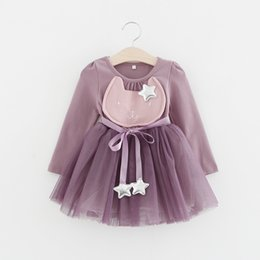 Wholesale Dresse Kids - Baby Girl Clothes Spring Fashion Costume For Kids Casual Dresses For Toddler Girls Dresse Yarn Party Children Clothing