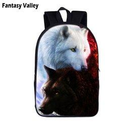 coole junge rucksäcke Rabatt Zwei Wolfs Coole Studenten Schule Rucksack Teeange Jungen Schultaschen Howling Wolf mit dem Mond Kinder Buch Taschen Männer Laptop Tasche