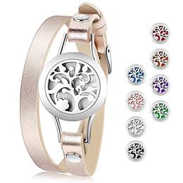 Diffuseur d'huile essentielle Bracelet en acier inoxydable Aromatherapy Médaillon Bracelets Bracelet en cuir avec 8 tampons de couleur Filles Femmes Bijoux Ensemble-cadeau ? partir de fabricateur