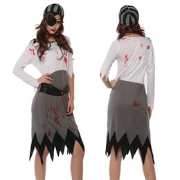 clothing for pirates Promo Codes - Adult Women Halloween Zombie Costume Ladies Horror Clothes Scary Pirate Outfit Joker Devil Wicca Dress For Girls