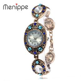 Wholesale Vintage Diamond Watches - Women Top Brand Luxury Watch Fashion Vintage Quartz Watches Elliptic dial Big Diamond-encrusted Bracelet Watch wist Watches