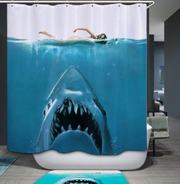 Shower Curtains Waterproof Mildew Proof Printed Shark Mediterranean Curtain Bathroom Decorations Sets
