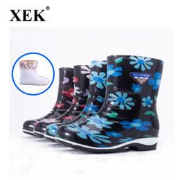 XEK 2018 Neue frauen PVC Regen Stiefel Zehn Meile Pfirsich Warme Mid-tube Regen Stiefel Sicherheit rutschfeste Saison Wasser Schuhe Wyq250 von Fabrikanten
