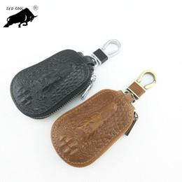 Wholesale Cartoon Handmade Keychain - Handmade Vintage Genuine Leather Key Holder Men Key Case Wallet Keychain Key Organizer Fashion Pouch Mini Bag Support FBA Drop Shipping