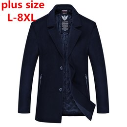 Wholesale Korean Style Jackets For Men - 2018 new Plus size 8XL 7XL 6XL Winter Long Coat Male Long Trench Korean Style Fashion Mens Jacket Trench Coat for Men Clothes