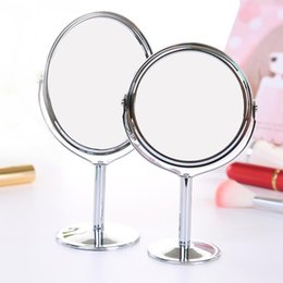 Wholesale framing bathroom mirrors - Desktop rotating mirror Silver Desk Type Double Side Cosmetic Makeup Mirrors with 1:2 Magnifying Function glass cosmetic mirror