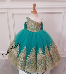 Wholesale First Knot - Lovely Gold Lace African Girls Pageant Dresses 2018 Ball Gown One Shoulder Cheap Knot Bow Long Tulle Girls Birthday First Communion For Kids