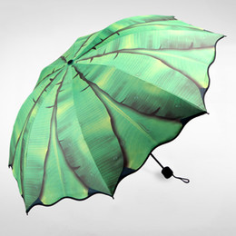 Wholesale painted leaf - Banana Leaf 3D Oil Painting Paern Folding Women Sunny Rainy Parasol Umbrella Creative Black Coating Fashion Strong Windproof