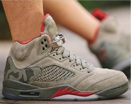 Wholesale Room Culture - (With Box) 2017 air retro 5 5s camo men Basketball Shoes camouflage trophy room retro 5s Grey Red sports shoes Sneakers size 41-47