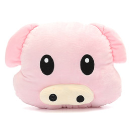 almofadas de porco rosa Desconto Bonito leitão Emoji Macio rosa Pillow Emoticon Cushion Plush Toy Stuffed Boneca presente boneca Segure LA022 Pillow Stuffed Toy Presente de aniversário
