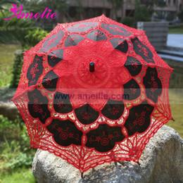 Wholesale Party Lace Parasol Umbrellas - Free Shipping Halloween Party Lace Parasols Red and Black Lolita Gothic Battenburg Lace Parasol Umbrella