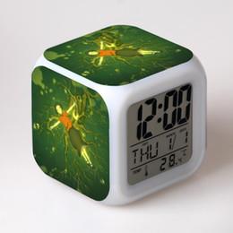 Wholesale cartoons alarm clock - Hot Sales Cartoon Big Fish & Begonia Led Light 7 Color Change despertador Alarm Clock Night Light Digital Table Clocks Kids Toys