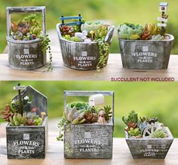 5 PZ-PACK Vintage piante Succulente vaso di fiori in legno cactus bonsai vaso di fiori fioriere scatola di immagazzinaggio casa Desktop decor (succulente non incluso) da desktop bonsai fornitori