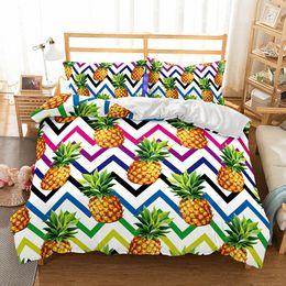 Art Fruit Juegos de cama de piña Funda nórdica edredón Fundas de almohada Doble / completo / reina / rey Todos los edredones de tamaño desde fabricantes
