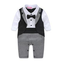 Wholesale Wedding Baby Boy Clothes - Newborn jumpsuit genlteman baby clothes with tie wedding baby clothes