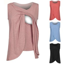 Wholesale Wholesale Breastfeeding Clothes - summer sleeveless care Maternity Nursing Tops Cotton Maternity Breastfeeding Tops Pregnancy Lactation T Shirt Breastfeeding Clothes
