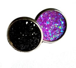 Wholesale wholesale druzy earrings - Handmade Druzy  Drusy Resin Dome Seals Cabochon Round Earrings Fashion Trendy Woman Jewelry