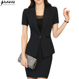 Wholesale Ladies Short Sleeve Office Suits - Summer new fashion women Striped skirt suit formal short sleeve slim blazer and skirt office ladies plus size work wear