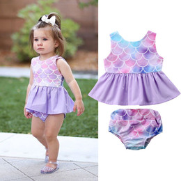 4287bc9c34a5 Discount baby girl mermaid outfit - 2018 INS baby girl toddler 2piece set outfits  Mermaid Tank