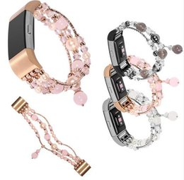 Wholesale Handmade Stretch Bracelets - For Fitbit Charge2 Bling Pearl Women's Agate Stretch Bracelet for Fitbit Charge 2 Band Handmade Pearl Watch Strap Replacement Watchbands